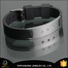 New products for 2016 high quality silver stainless steel clasp men sport bio silicone magnet bracelet