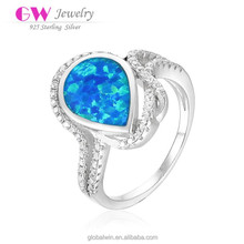 New Design Fashion Silver Blue Opal Drop Designer Rings Jewelry With Cz Stone
