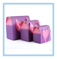 printed purple cardboard handle food boxes for gift