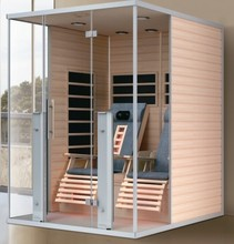 Infrared sauna room with massage chair and carbon fiber sauna cabin 02-K66