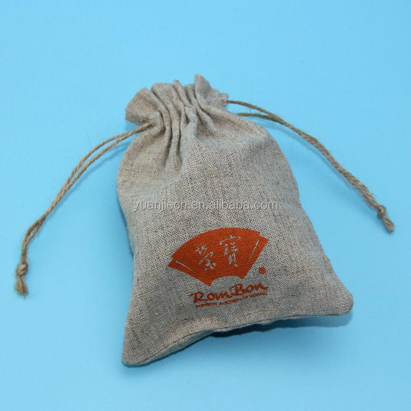 Jute eco drawstring power bank bag