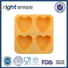 Popular items romantic silicone 4 heart cakemold in orange