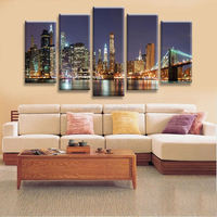 High Quality 5 Panels Home Decor Wall Art Painting Prints of Manhattan Brooklyn Bridge Artwork Custom Sale--Modern City Painting