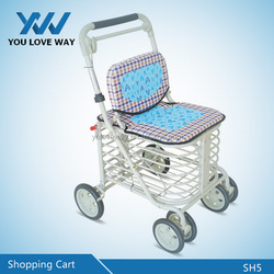 New products aluminum alloy two wheels foldable shopping trolley