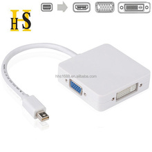factory price 3 in 1 Mini DP Display port Thunderbolt to HDMI VGA DVI Adapter Cable for Apple / MacBook Pro