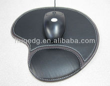 HOT selling popular cheap promotion irregular shape pu leather mouse pad with wrist rest