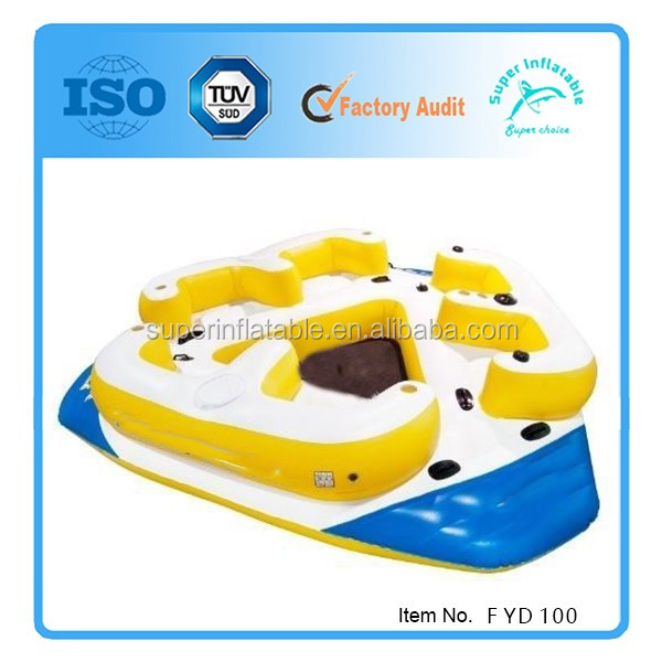 Inflatable Water Slides Naples Fl: Inflatable Floating Island Pool River Ocean 6 Person Water