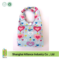 Whole sale popular foldable handbags folding shoulder bags recycled shopping tote bags