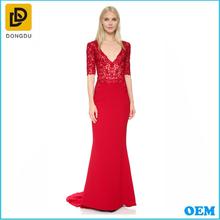 2016 new arrival V-neck cocktail short sleeve red elegant evening dress for women