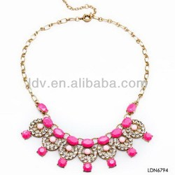 European and American fashion personality wild latest trends fluorescent color gem diamond necklace costume necklaces
