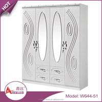 Modern bedroom furniture latest laminate wardrobe 4 doors design white wooden wardrobe with 2 mirrors