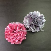 dusty pink/grey satin flower corsage,high quality puff daisy flower artificial flower corsage