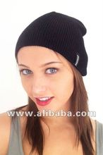 Unisex Black Knit Beanie, Winter Ski Hat, Skull Cap