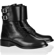 2015 women boots fashion chunky heel ankle boots ankle side buckle black lambskin leather ankle boot women
