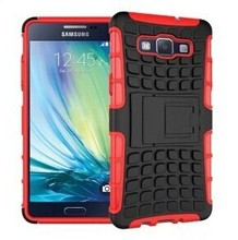 Anti-skid Texture 2 in 1 Pattern Silicone + PC Hybrid Chrome Knuckle Case for Samsung Galaxy A5 with Kickstand