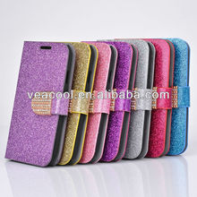 Diamond Bling Flip Wallet Leather Stand Case Cover For iPhone 5 5G 5S Leather Case