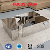 italian modern design polished diamond coffee table with stainless steel legs