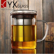 Wholesale thickening refractory glass with cover stainless steel filter transparent glass office cup tea cup
