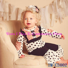 Hot Sale Children Clothing Sets Adorable Girls Black and white Polka dot Rose Top and Pants Ruffle Outfit for Kids IM-CS002