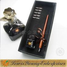 wood dip pen set,carved wood pen
