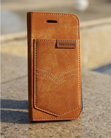 Jean Cloth Design Magnetic Flip Wallet Leather Case for iPhone 6