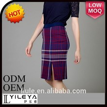 alta moda primavera tartan formal conjunto de saia e blusa para senhora