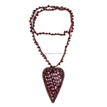 Best seller fashionable resin necklace heart pendant necklace for party fancy long link beads necklace 2015