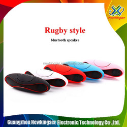 New High Quality Support QFX TF/AUX/USB/FM Rugby Bluetooth Speaker with Built-in Rechargeable battery and Microphone