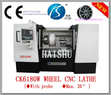 CK6180W wheel turning diamond cutting machine cnc lathe for refurbishment wheel with probe and CE