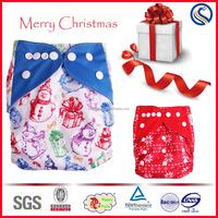 Happy flute baby cloth diaper, Christmas prints