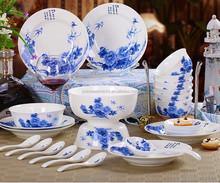 kitchen tableware blue and white ceramic dinner plate