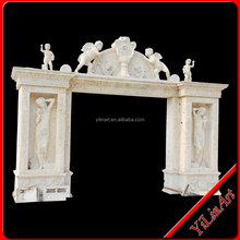 hot sale natural well polished marble made hand carved natural stone door frame YL-M044