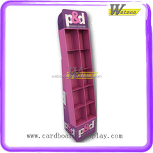 Portable Cardboard Floor Standing Compartment Display Book Shelf