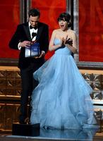Celebrity Inspired Zooey Deschanel Emmy 2012 Strapless Light Sky Blue Prom Dress
