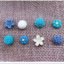 Flower Magnets in Dusk Blue. Floral Fridge Magnets Set. Office Magnets
