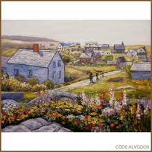 100% hand-painted village house scenery oil painting on canvas