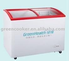Freezer curved glass door chest freezer/chest showcase