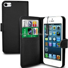 PU Leather Wallet Flip Case For iPhone 5/5S With Screen Protector,Black