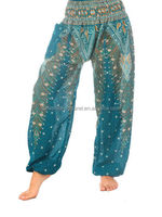 elastic trousers printed high quality silk harem pants