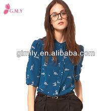 2014 de señora de verano las mujeres ropa impresa gasa blusas cuello diseños