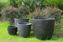 Natural look round fiberglass cement planter pots wholesale, round garden flower planter