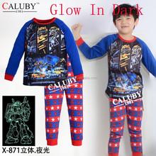 New Cartoon Boys Cotton Pajamas,Transformers 3D glow in the dark underwear,sleepwear