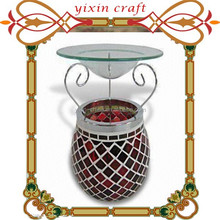 11Dx14H Mosaic Candle Oil Diffuser Home Essential Small Decorative Glass Fragrance Lamp