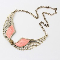 plated alloy rhinestone angel wing necklace wholesale indian statement necklace