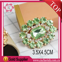 Fashion green color oval shape glue on type ornaments for ladies shoes