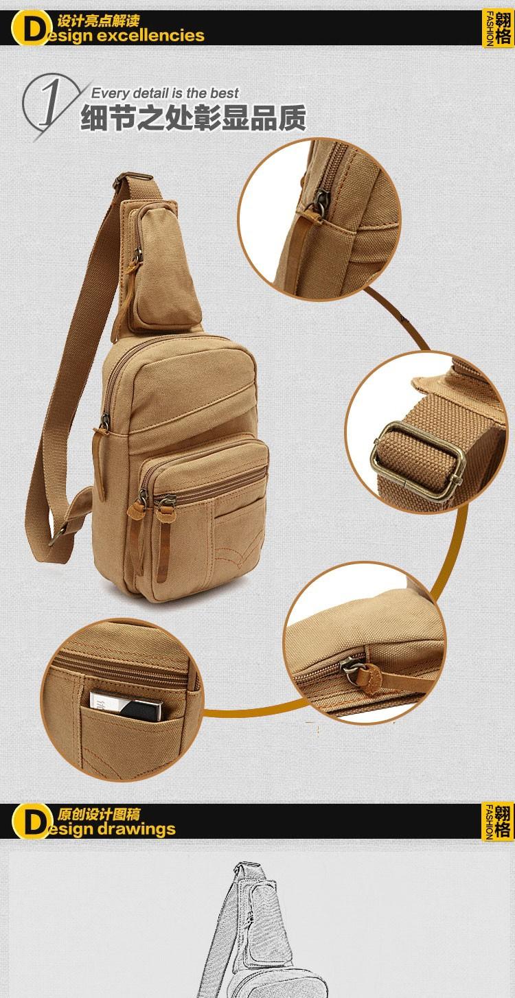 New Arrival Men Chest Pack Vintage Canvas One Shoulder Cross-body Bag