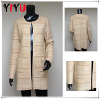 Latest Ladies Long Heavy Knitting Pattern Cardigan Sweater Coat With Stripe