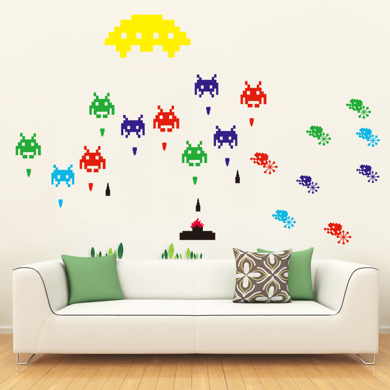 Space invaders game sticker laptop decor sticker funiture decor sticker kids room decor wall - Space invader wall stickers ...