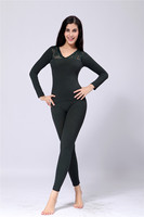 6723-5 sexy thick velvet V-neck lace black thermal underwear sets for women girls seamless camisole ladies long johns sets OEM