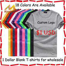 100% cotton plain t shirt/hot-selling 1 dollar t shirts/cheap bulk wholesale blank t shirts for promotion